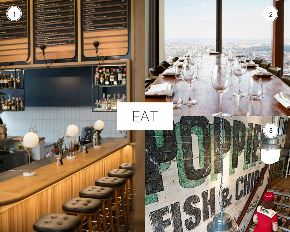 City Guide London 1. Modern Pantry 2. Duck and Waffle 3. Poppie's Fish and Chips