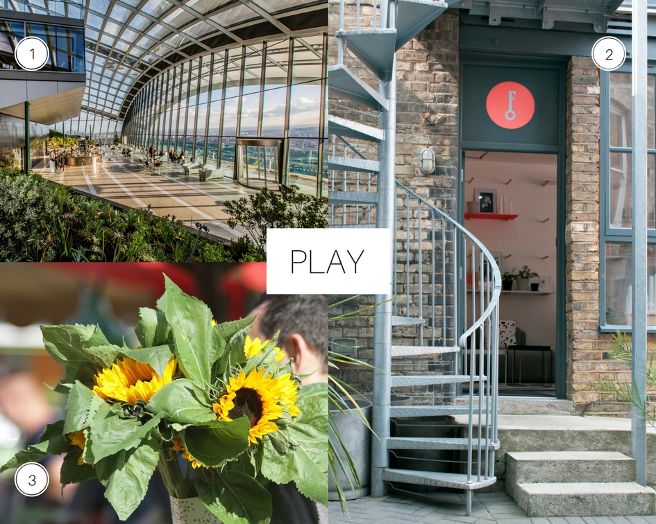 City Guide London 1. Sky Garden 2. Future and Found 3. Queen's Park Farmer's Market