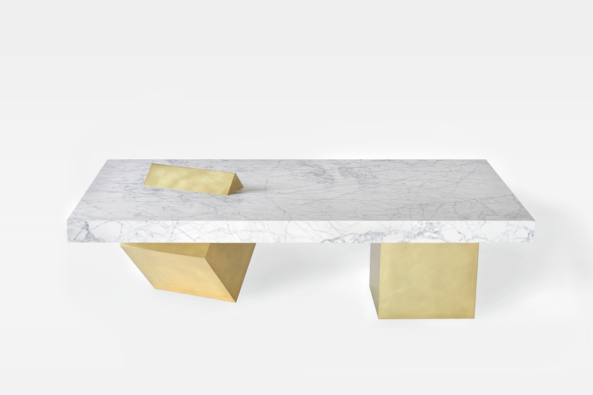 COEXIST Marble and Brass Coffee Table