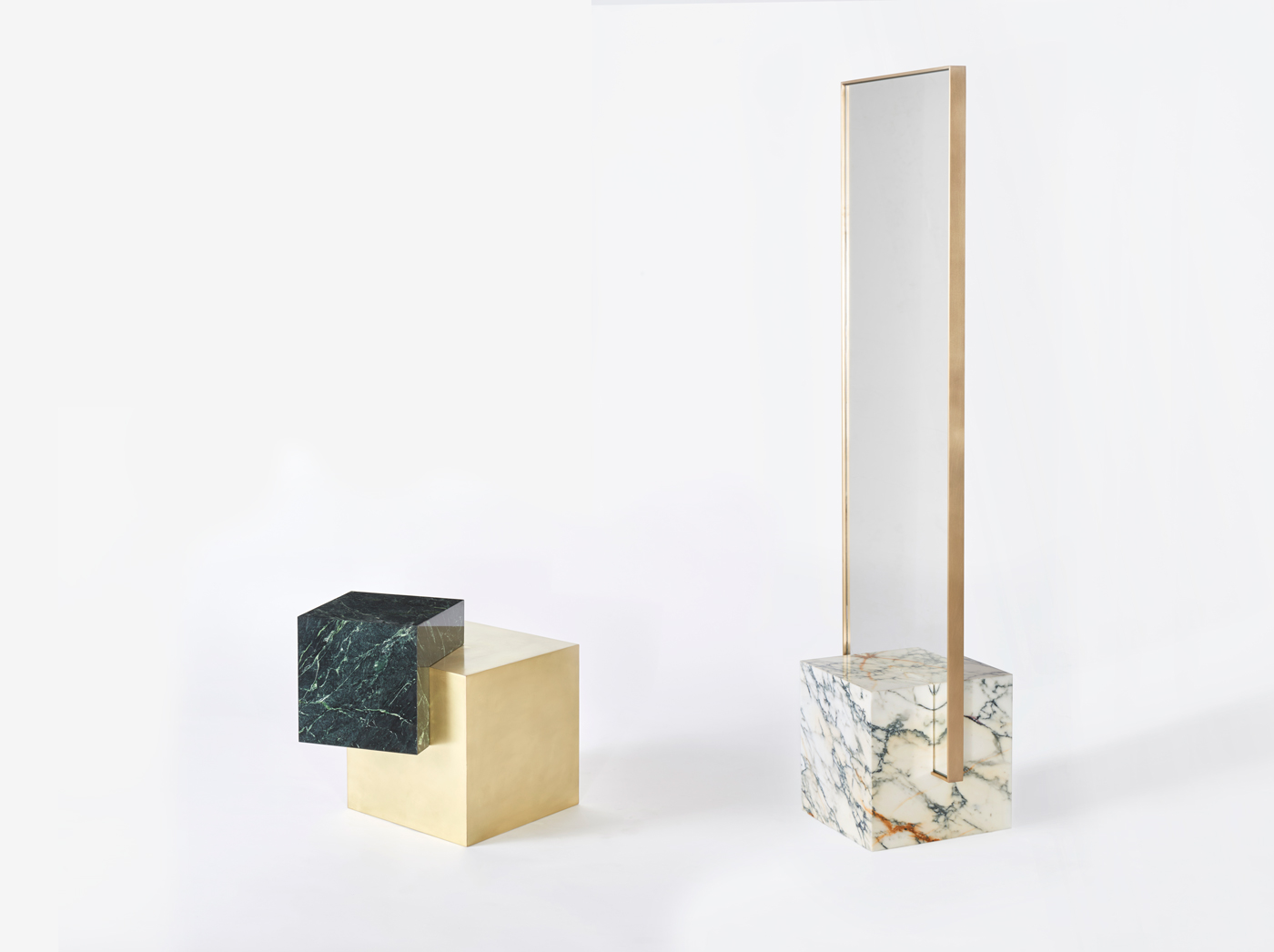 COEXIST ASKEW Marble and Brass Side Table; COEXIST Standing Mirror
