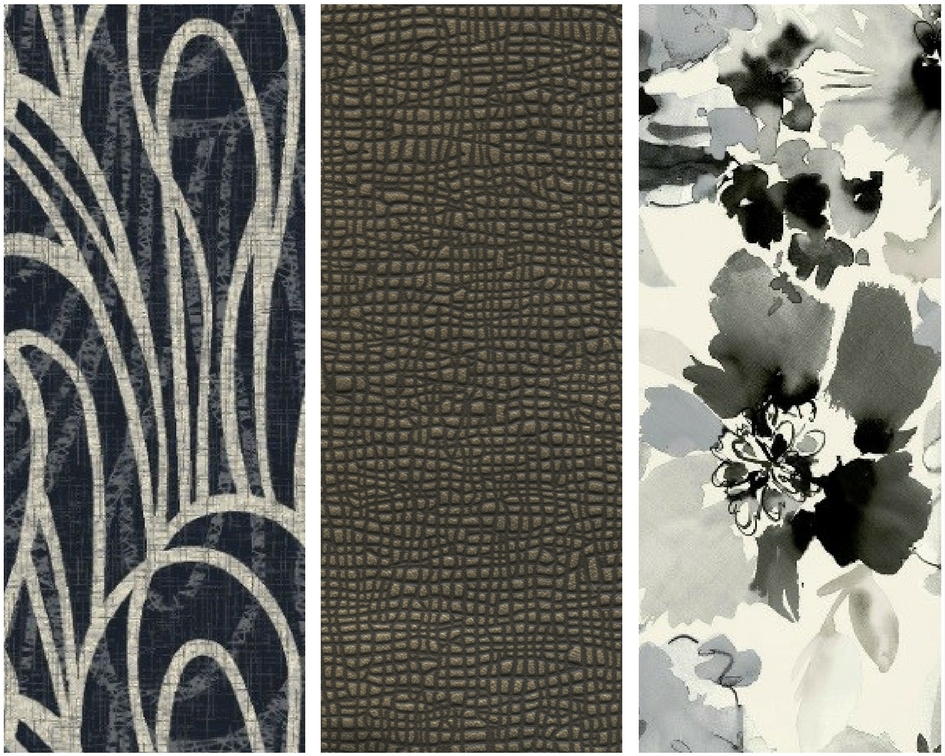 obsidian Left: Stacy Garcia for Brintons Retrospective Collection 16/S4844SG Middle: Stacy Garcia for Townsend Leather Kinetic-Mineral Right: Stacy Garcia Textiles Painted Blossom-Cool Grey