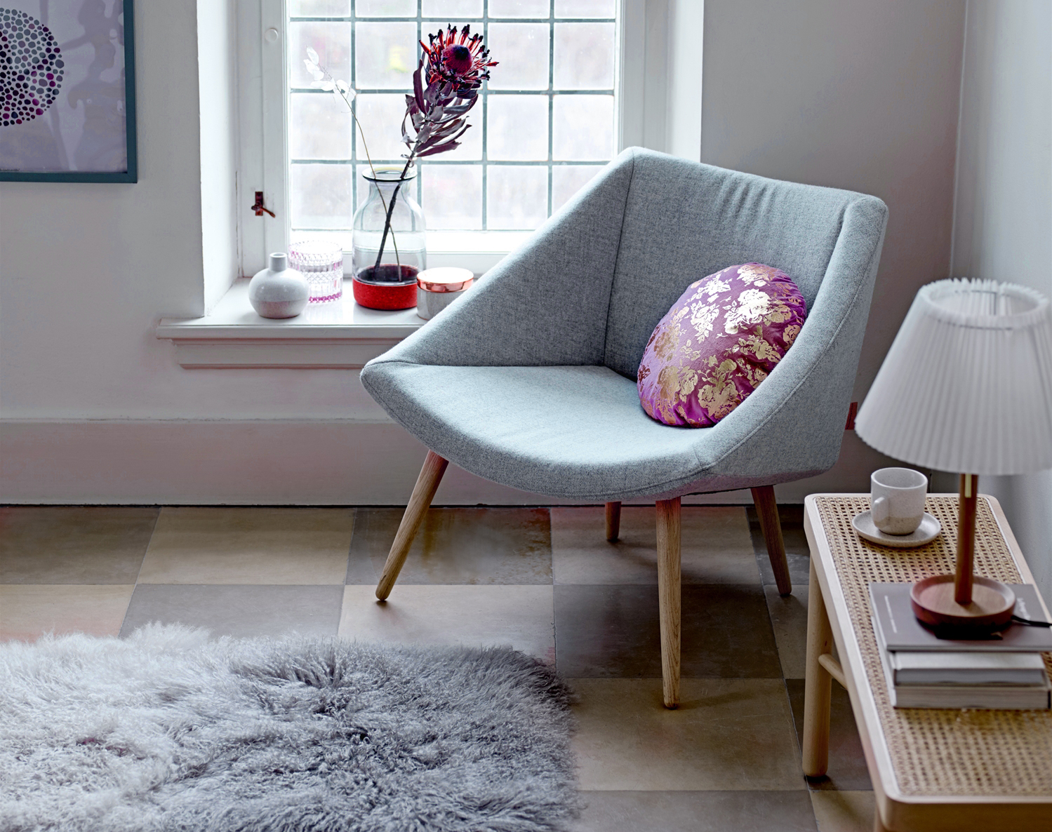 Image Courtesy of Bloomingville - Product Shown: Elegant Chair, Grey, Wool; Table lamp, Nature, Oak - Life-Styled.net